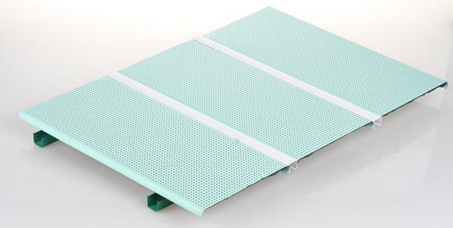 湖水蓝色冲孔喷粉R型铝条扣带吸音布