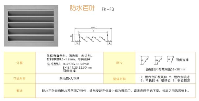 防水百叶规格尺寸标准