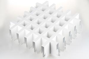 白色宽底铝格栅整体效果