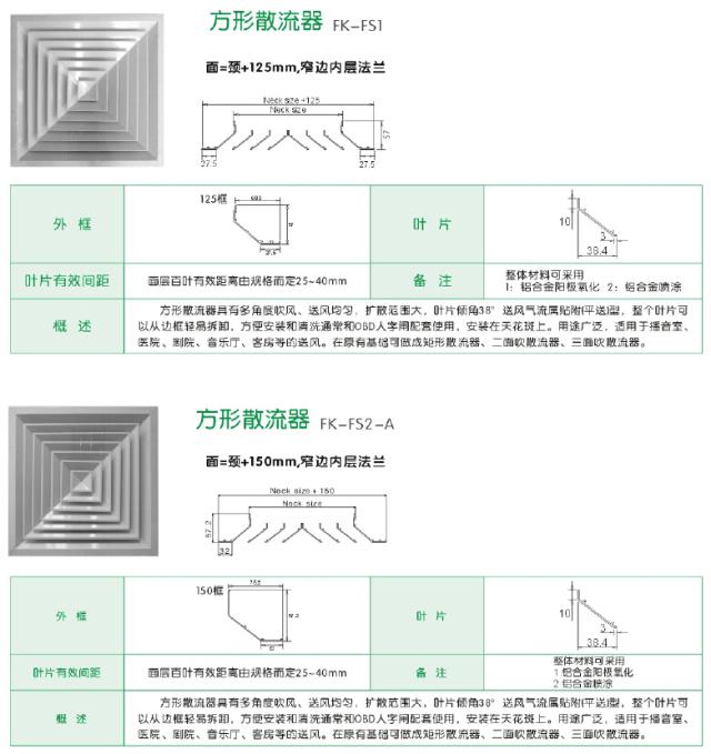 方形散流器规格尺寸