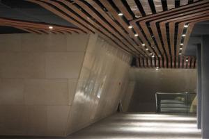 博物馆弧形木纹铝方通吊顶