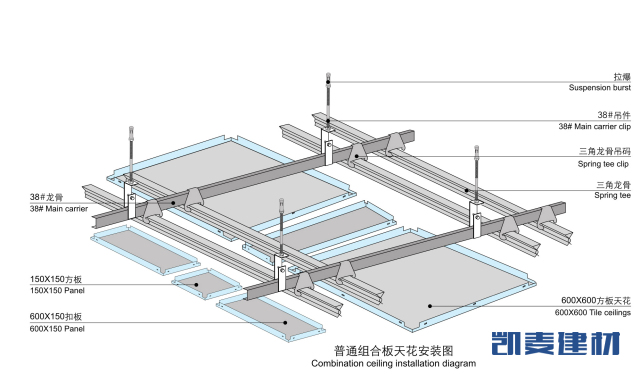 组合铝扣板安装节点图