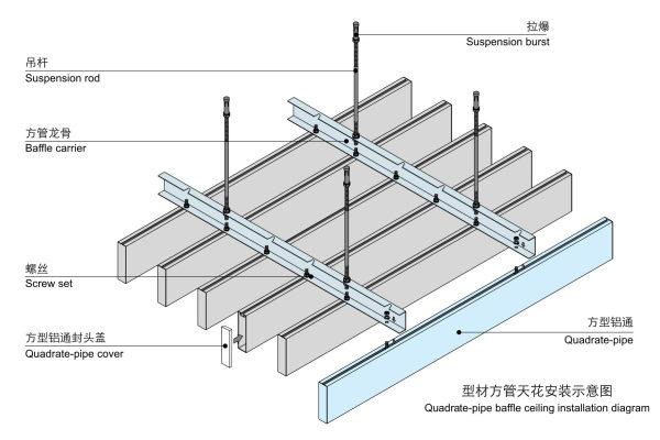 天花轻钢龙骨间距_型材铝方通安装方法-技术资料