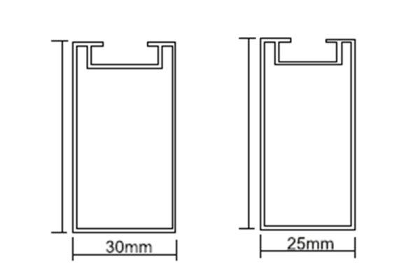 型材铝方通横截面节点