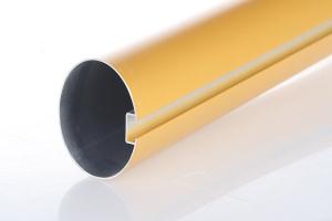 金色型材铝圆管凹槽面细节