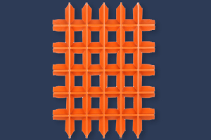 橙色V型铝格栅正面图