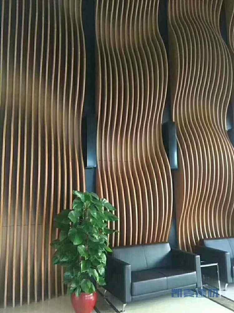 波浪形木纹铝方通造型墙