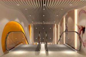 电梯过道弧形铝方通吊顶