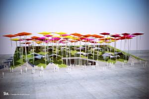上海世博会墨西哥馆-七彩伞型铝板