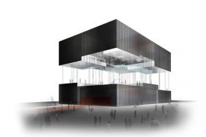 上海世博会香港馆--黑色金属拉丝质感铝板