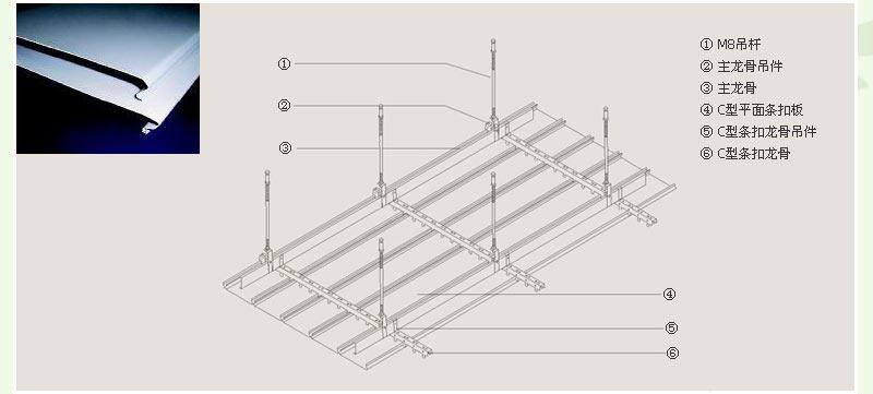 C型铝条扣安装节点