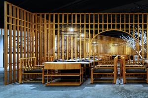 复古茶馆木纹格栅