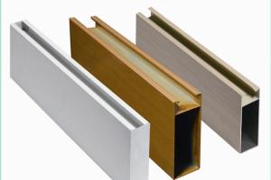 白色木纹色U型型材铝方通