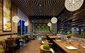高档商场餐厅安装木纹铝方通吊顶