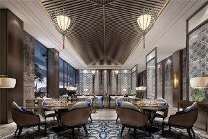 私人高级会所装弧形金色铝方通吊顶