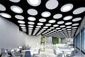 售楼部吊顶圆形多孔高光白铝单板