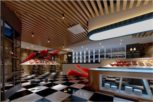 酒吧吧台木纹铝方通吊顶