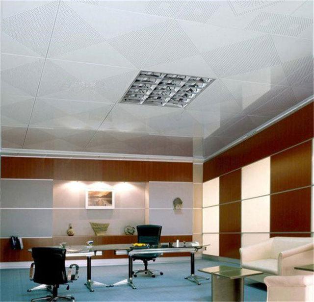 办公室安装对角冲孔铝扣板吊顶