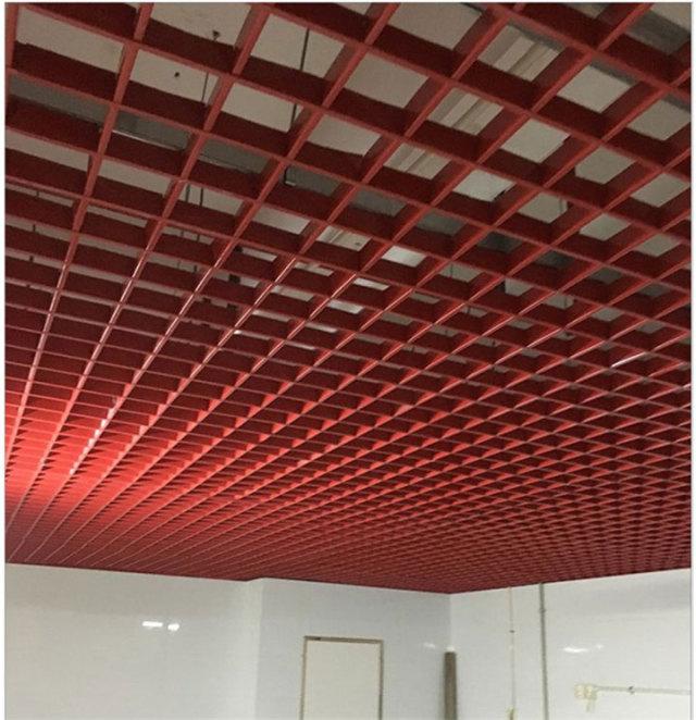 火红色铝格栅吊顶