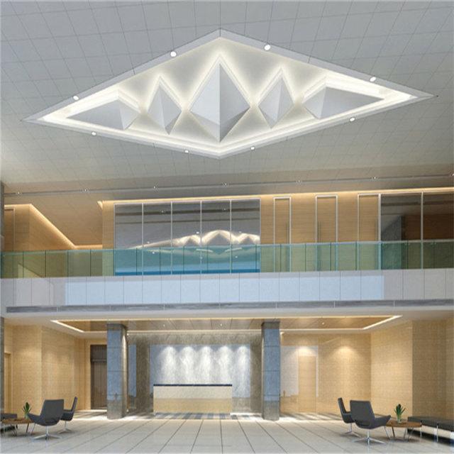 售楼部大堂安装吊顶铝单板和扶手铝单板