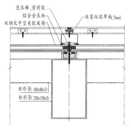 玻璃外设镂空铝单板安装节点