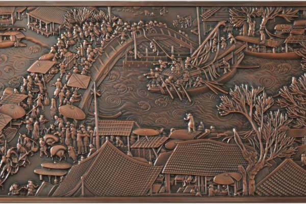 清明上河图仿古铜铝板浮雕
