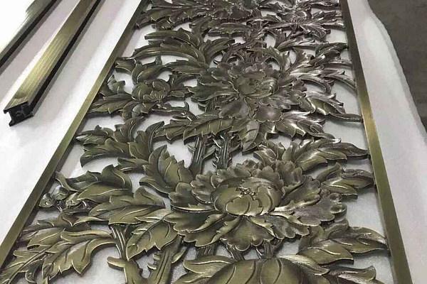 青古铜铝板雕刻屏风