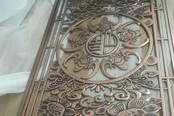 红古铜铝板雕刻屏风