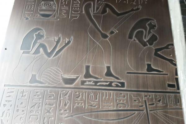 仿古铜人像不雕穿平板拉丝雕刻铝板