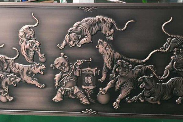 福字浮雕镀铜铝单板