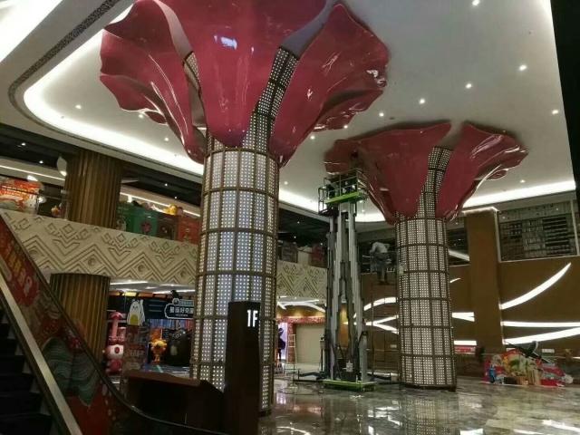 紫红色高光双曲铝单板花朵包柱吊顶