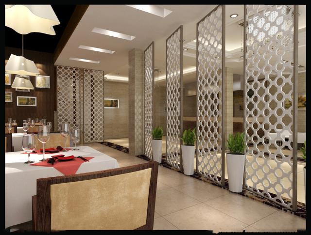 西式餐馆装白色铝合金屏风