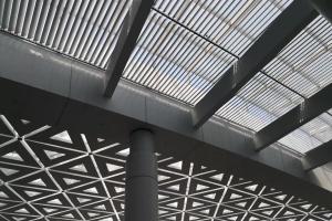 机场候机室三角形冲孔铝单板和率挂片天花