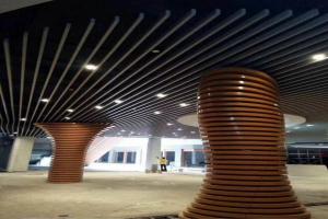 木纹色圆环层叠造型包柱