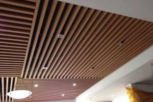 学校球馆木纹铝方通吊顶