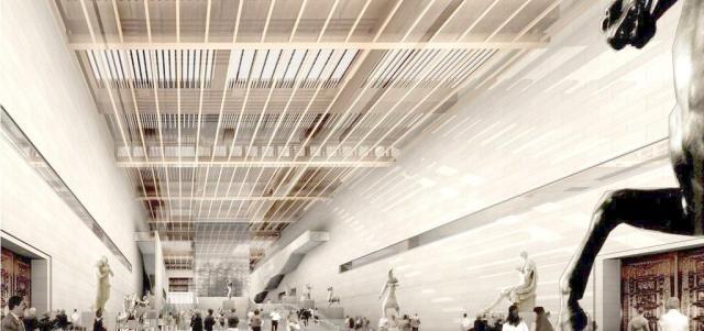 艺术馆造型铝方通格栅吊顶