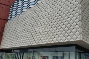 棱形凹凸门头造型铝单板