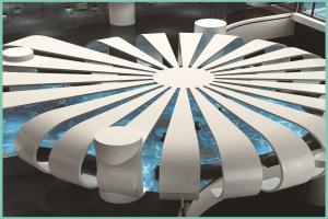 大堂安装圆形发散造型铝单板