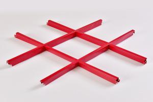 火红色铝格栅
