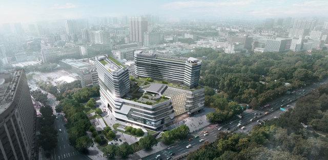 广州越秀会展中心大楼鸟瞰图
