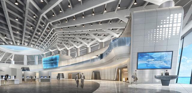 国际会展中心前厅吊顶冲孔造型铝单板