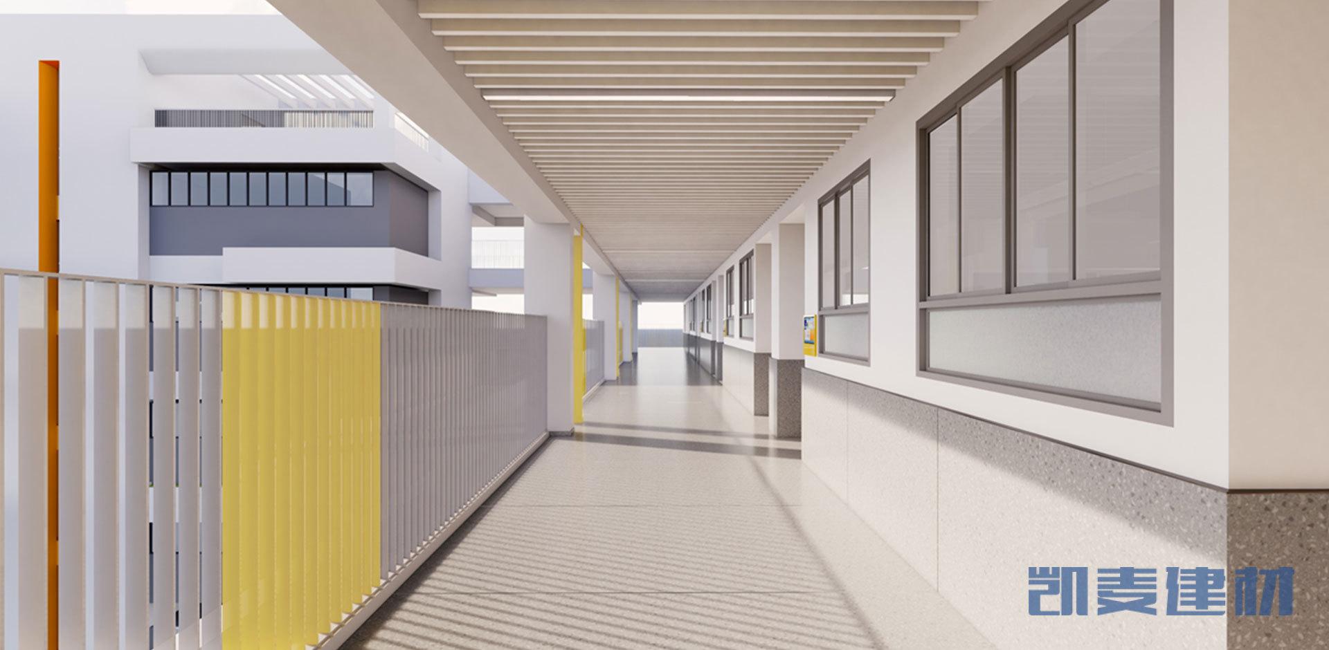 走廊白色吊顶铝方通